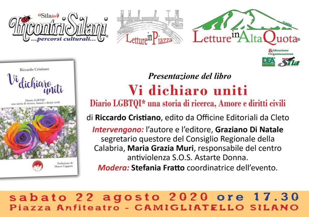 La locandina dell'evento previsto per il 22 agosto 2020 Incontri Silani