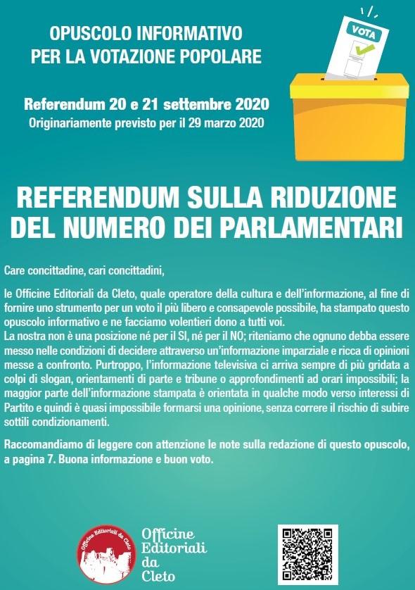 opuscolo informativo per la votazione popolare - referendum per la riduzione dei Parlamentari del 20 e 21 settembre 2020