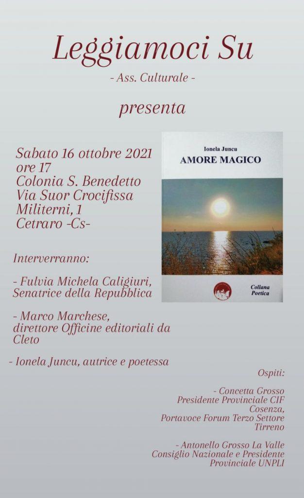 La locandina della presentazione del libro AMORE MAGICO di Ionela Juncu